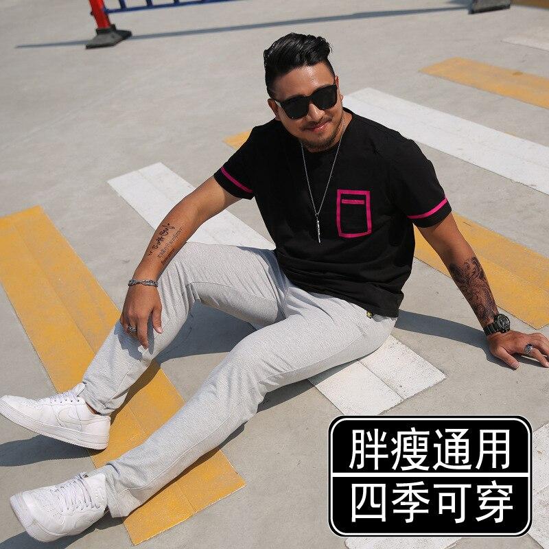 6XL Korean-style Slim Fit Casual Pants Athletic Pants MEN'S Trousers Large Size Couples Straight-Cut Sweatpants Plus-sized Four
