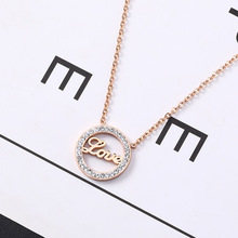 Collares Moana Choker Style English Letters Love Collarbone Chain Female Steel Rose Ornaments Taigang Short Necklace Pendant