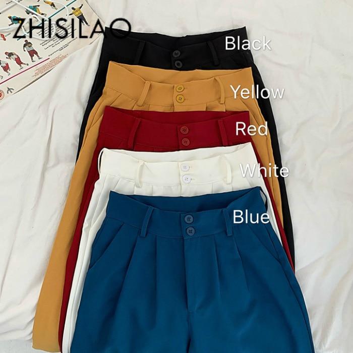 Женские свободные широкие брюки с высокой талией, прямые брюки размера плюс, однотонные винтажные повседневные брюки макси черного и белого цвета|Брюки |   | АлиЭкспресс