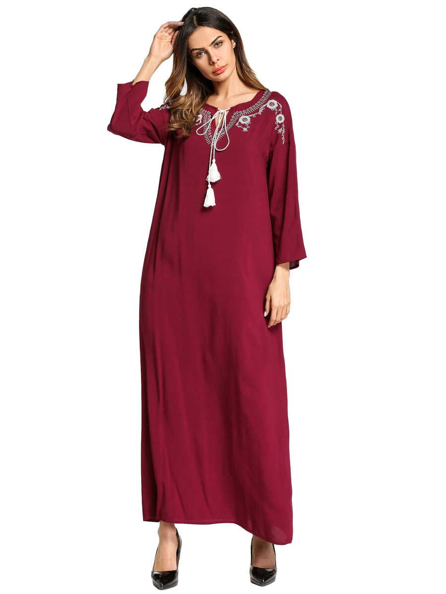 Middle East Muslim Abaya Dress Women Turkey Embroidery Jilbab Vestidos Jubah Moroccan Caftan Islamic Clothing Robe Hijab Elbise