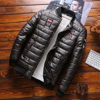 PEVSN  Winter Men Jacket Fashion Men Thermal Parkas Coats Man Thick Warm Windbreaker PU Leather Patchwork Jackets Clothing 8XL