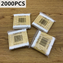 2000pc Double Head Cotton Swab Bamboo Cotton  Swab Wood Sticks Disposable Buds Cotton For Beauty Makeup Nose Ears Cleaning Tools