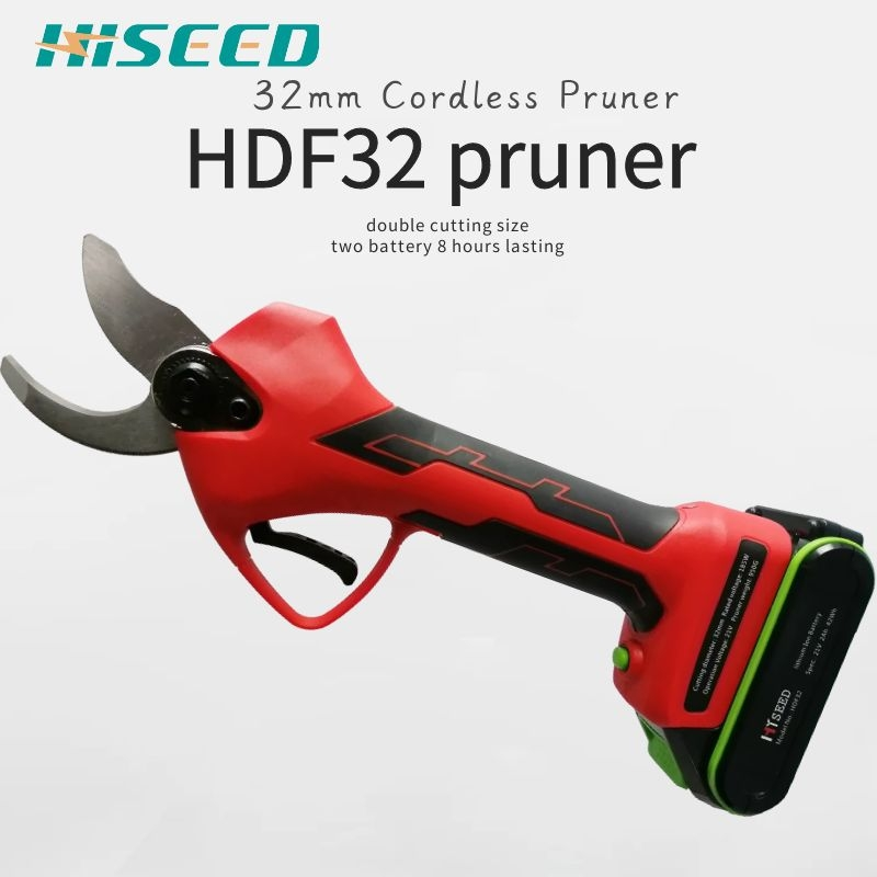 HISEED battery tree pruner 32mm agriculture electric pruning shear 21V Rechargeable lithium battery scissors Electric Scissors     - title=