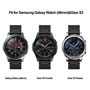 Image 3 - 22mm uniwersalna pętla Milanese do Samsung Gear S3 Classic/S3 Frontier/galaxy watch 46mm regulowany pasek ze stali nierdzewnej