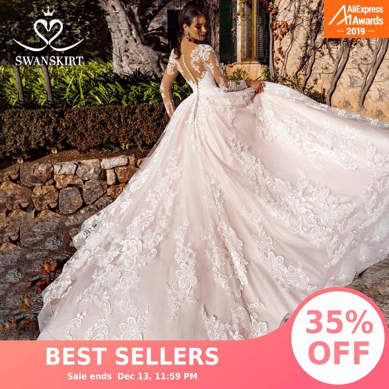 Swanskirt Sweetheart Wedding Dress 2019 Appliques Long Sleeve A-line Court Train Bridal Gown Customized Robe De Mariage K182