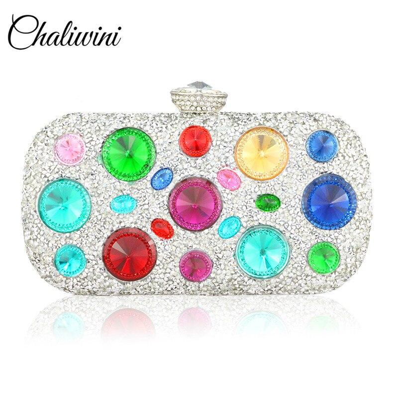 Estoque nova moda totes preto grande diamante bolsa gem bolsas de noite feminina metal pulseiras embraiagens casamento carteira