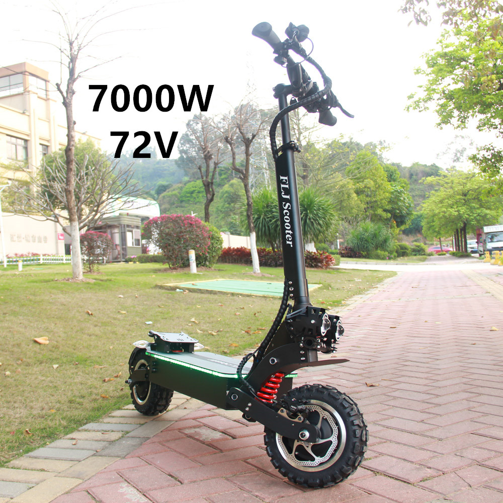 FLJ 72V 7000W kick <font><b>Scooter</b></font> <font><b>electric</b></font> with 11inch Dual <font><b>motor</b></font> engines fat tire elektro adult <font><b>scooter</b></font> image