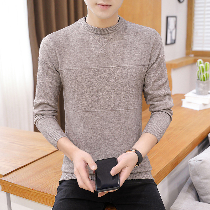 2019 New Autumn And Winter Round Neck Solid Color Men's Sweater Pullover Round Neck Casual Sweater Warm Sweater