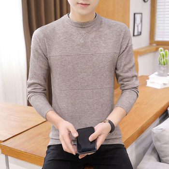2019 new autumn and winter round neck solid color men's sweater Pullover round neck casual sweater warm sweater khaki splited design round neck irregular sweater