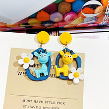 Korean Character Asymmetric Lovely Earrings Cartoon Deer Flower Ear Drop Girl Heart Ins Temperament Baitao korean