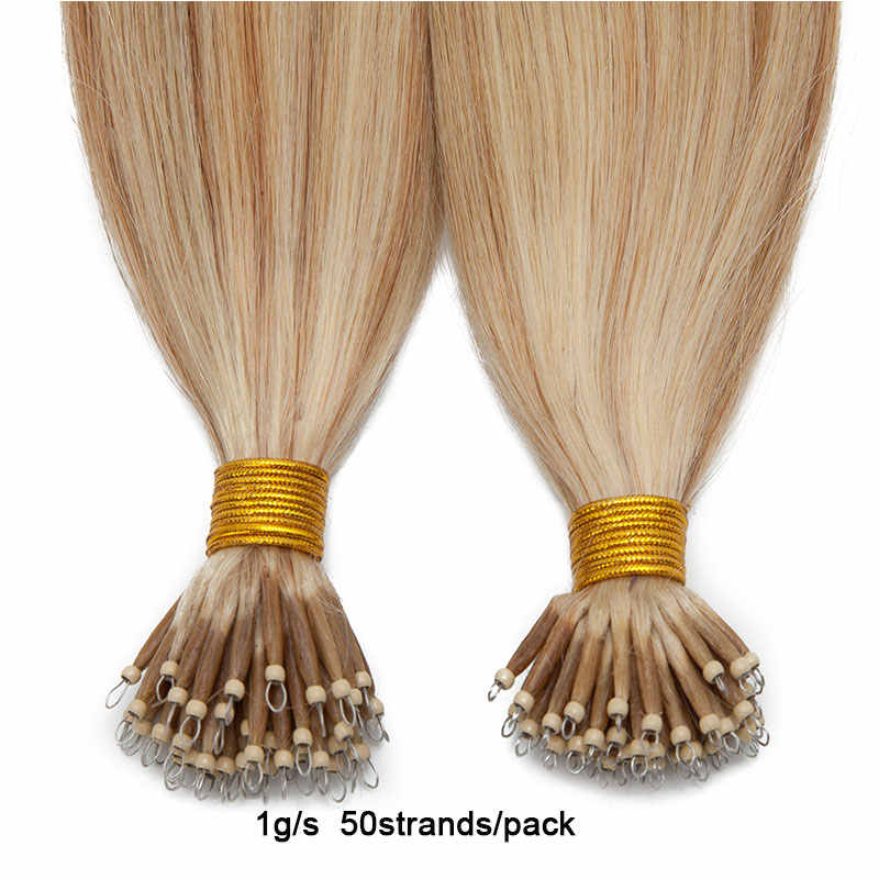 SEGO 16-24 inch 1g/s 50pcs Nano Ring Hair Micro Beads Hair Extensions Non-Remy Human Pre-bonded Straight Brazilian Hair
