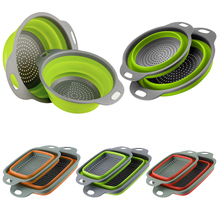 Kitchen Drainer Colander Vegetable Basket Handle Fruit Foldable Collapsible with 1-Pc