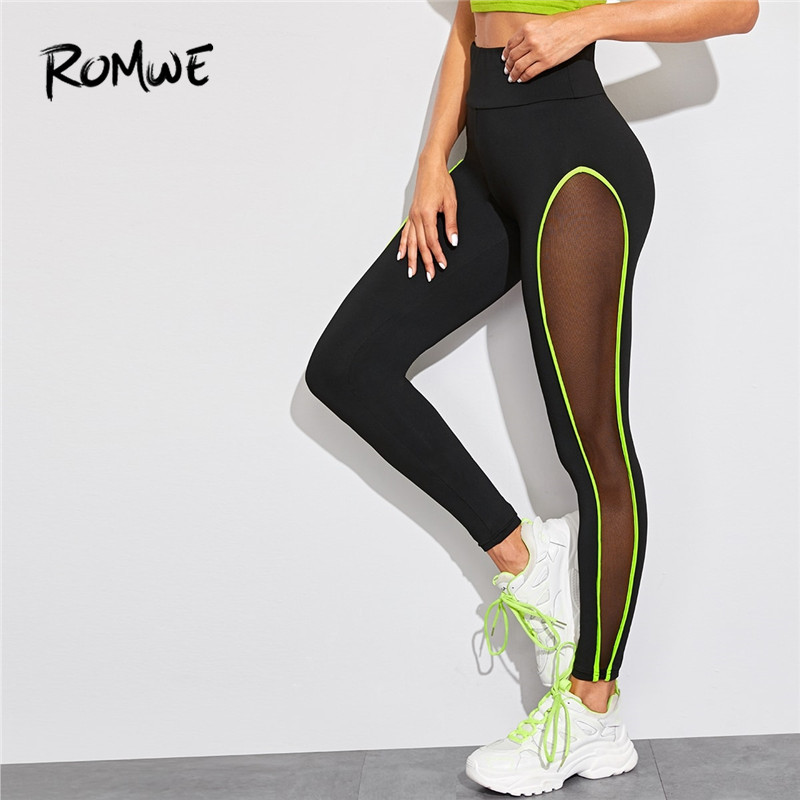 ROMWE Neon Lime Contrast Binding Sheer Panel Workout Leggings Women Clothes Fitness Black Leggings Activewear Ladies Leggins