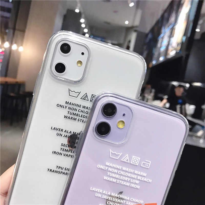 Lovebay przeźroczysta etykieta litery etui na telefony dla iPhone 11 Pro Max X XS XR Xs Max miękkie czyste etui z tpu dla iPhone 6 6s 7 8 Plus