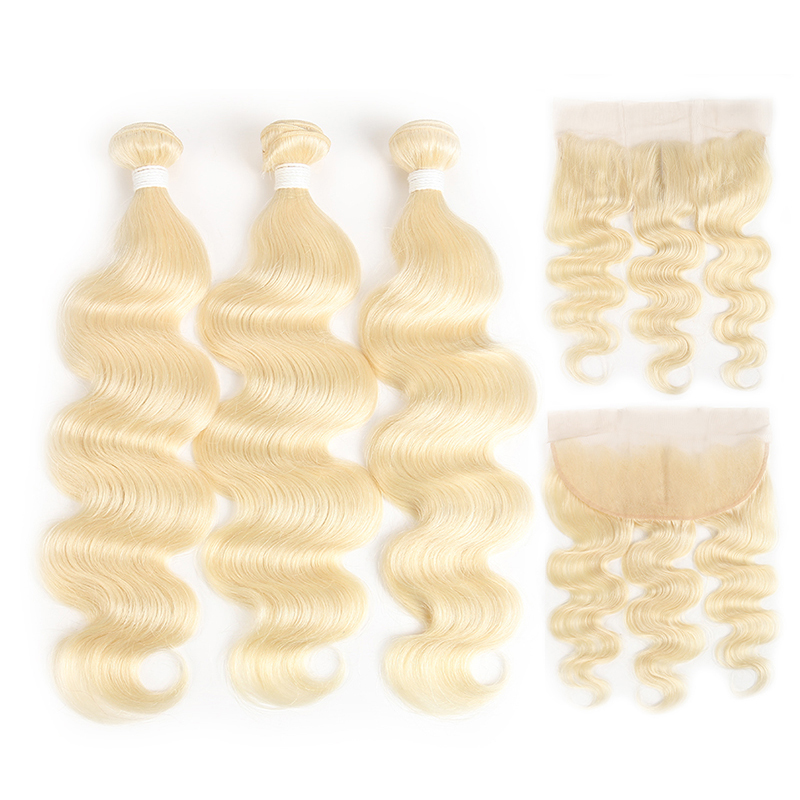 China weave bundles with closure 613 Blonde Bundles With Frontal Brazilian Body Wave With 134 Lace Frontal