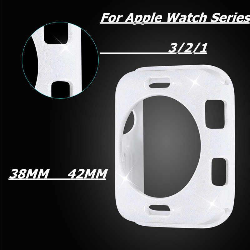 Flaş TPU izle Glitter kılıf apple İzle 5 4 için kılıf kapak 44/42/38/40mm koruma renkli kılıf tampon iwatch 3/2/1