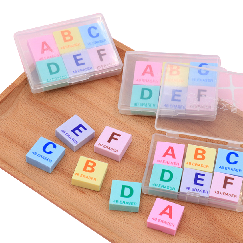 6pcs/pack Mini Letter A-F Rubber Colorful Eraser Boxed Eraser Set Cute Stationery School Office Supplies Gomas De Borrar