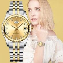CHENXI relojes de cuarzo de lujo para mujer, correa de reloj de acero inoxidable dorada, de alta calidad, informal, resistente al agua, regalo para esposa