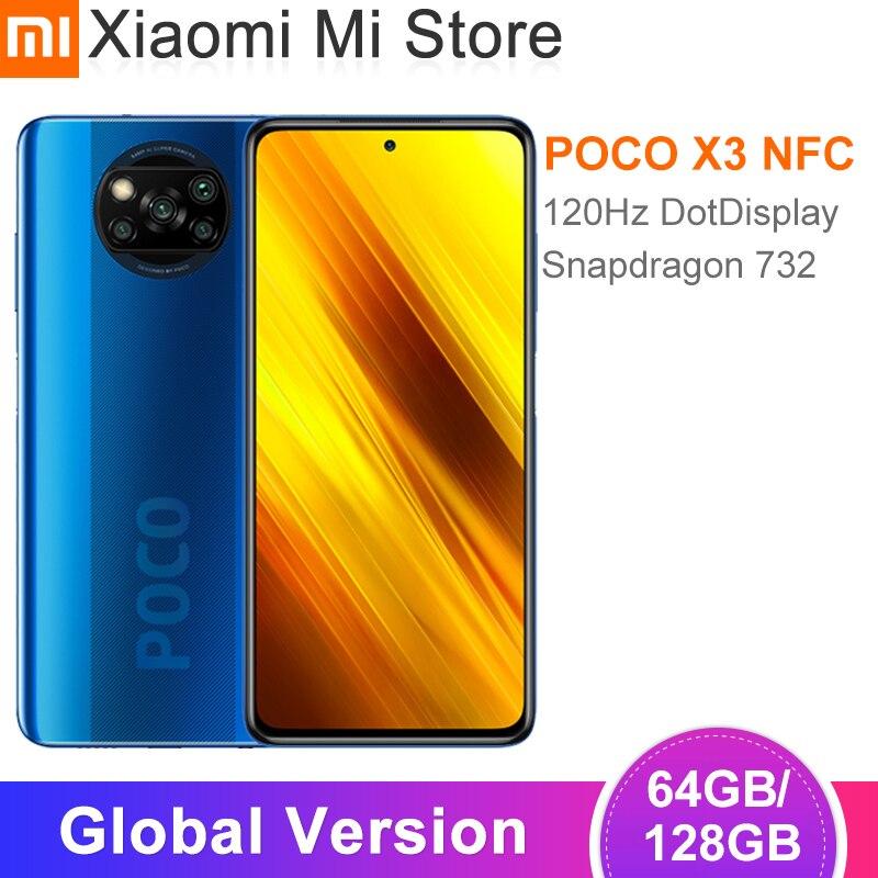 В наличии глобальная версия Xiaomi POCO X3 NFC Смартфон 64GB/128GB Snapdragon 732 Octa Core 64MP 5160 мАч батарея 33 Вт Быстрая зарядка