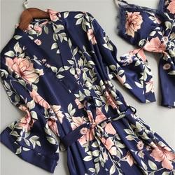 5 шт. Женская мода Экзотический набор сексуальный шелк кружево сатин халат банный халат брюки нижнее белье-шорты набор пижамы одежда для сна... 5