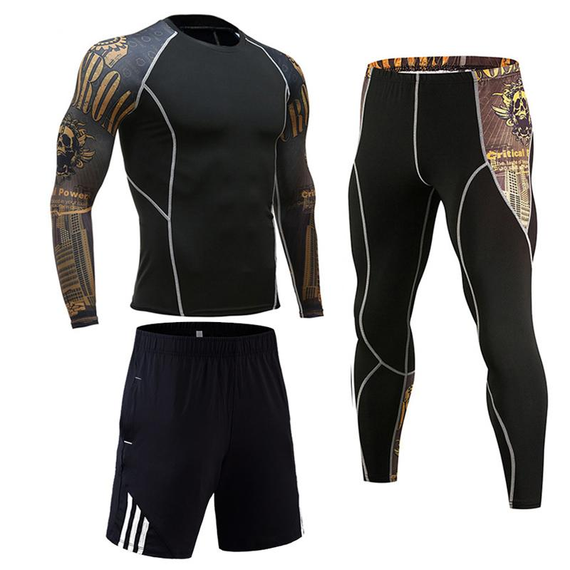 3 Piece Mens Compression Set Running Tights Workout Fitness Training Tracksuit Long Sleeves Shirts Sport Suit Rashgard Kit
