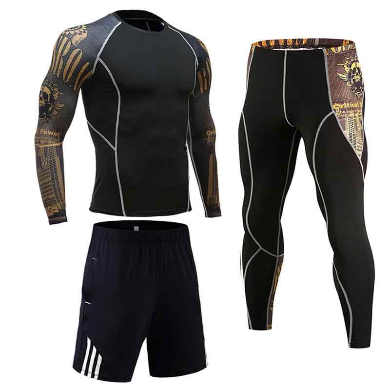 Plain Long Sleeve Compression Tracksuit Set Men/'s Bodybuilding Sport Rash Guard