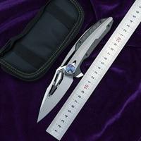 LOVOCOO ZT0999 Flipper folding knife M390 blade CF titanium handle knife hunting camping fruit knife EDC tool