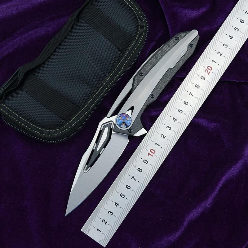 LOVOCOO ZT0999 Flipper couteau pliant M390 lame CF titane poignée couteau chasse camping fruit couteau EDC outil
