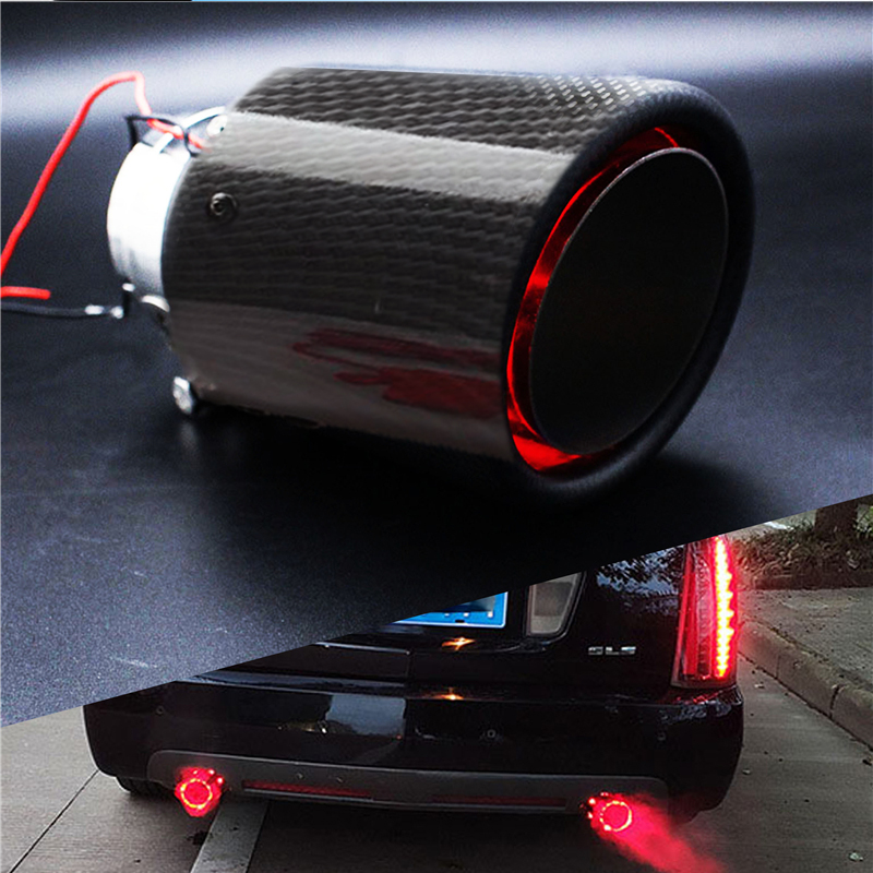 Universele 35-61 Mm Inlet Carbon Fiber Kleur Auto Uitlaatdemper Pijp Tip W/Rode Led Licht