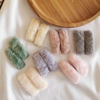 2 horquillas cuadradas de felpa de invierno unids/set de pasadores de pelo de piel sintética de Color caramelo para niñas accesorios para el cabello