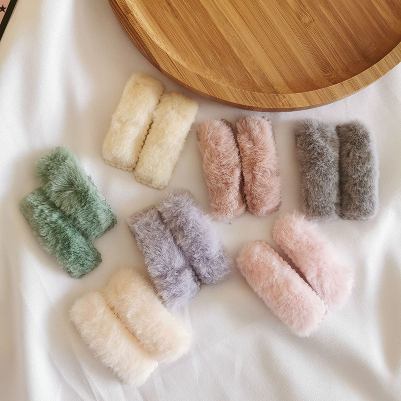 2Pcs/Set Winter Plush Square Hairpins Candy Color Faux Fur Hair Clip Barrettes For Girls Fashion Kids Hair Accessories Headwear
