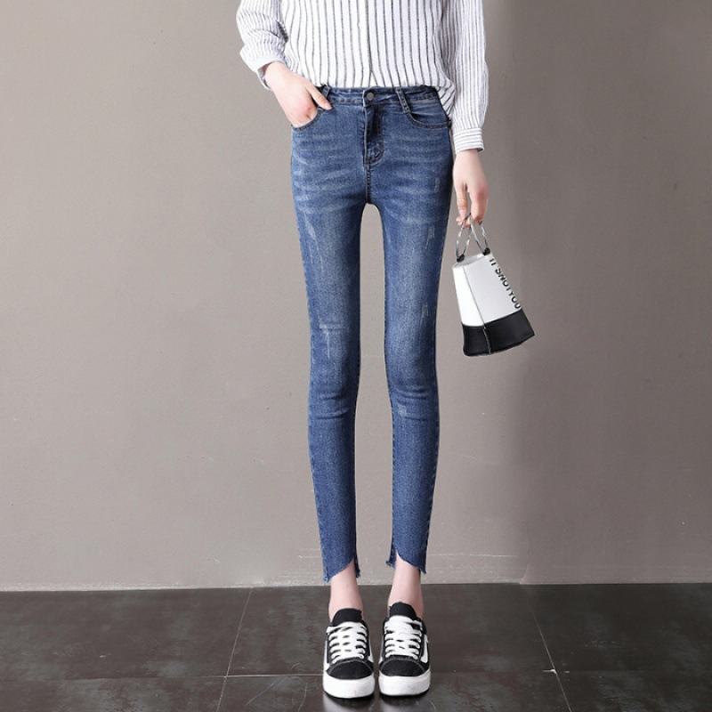 2019 Autumn And Winter Women's High-waisted Elasticity Capri Jeans Feet Hypotenuse Shear