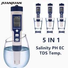 5 в 1 цифровой рН TDS EC измеритель температуры Солености Тестер проводимости фильтр для воды Чистота ручка с подсветкой Скидка 40