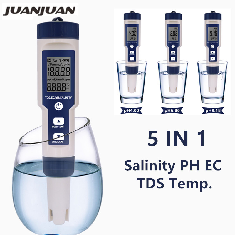 5 In 1 Digital PH TDS EC Meter Salinity Temperature Tester Conductivity Water Filter Purity Pen Without Backlight 40%off
