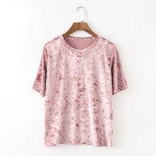 Camiseta de manga corta de terciopelo para mujer, ropa de color rosa, negro, verde, rojo, de estilo coreano, informal, vintage, de terciopelo, de buena calidad