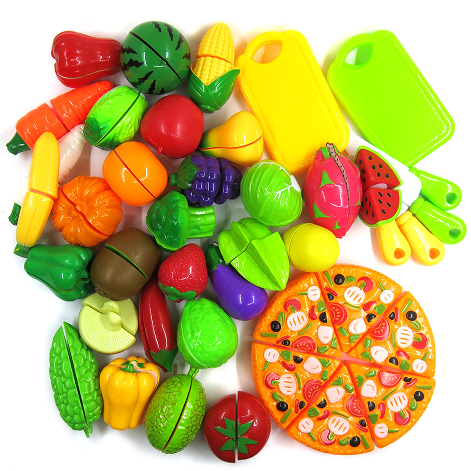 14pcs/set Pretend Play Plastic Food Toy Cutting Simulation Fruit Vegetable Pizza Food Pretend Play Role Kitchen Toy For Children
