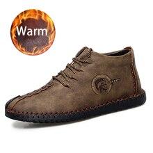 2019 New Winter Men Leather Boots Fur Plush Warm Shoes Popular lightweight Footwear Rubber Waterproof Big Size