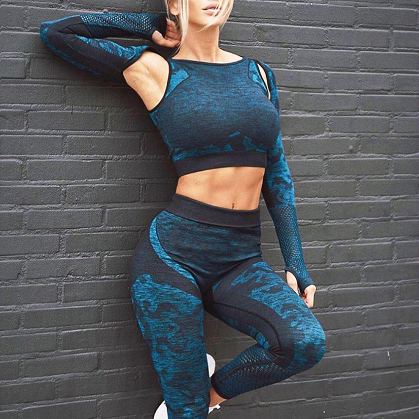 Gym Leggings Tracksuit Workout-Set Sports-Suits Fitness Long-Sleeve Seamless Women Push-Up