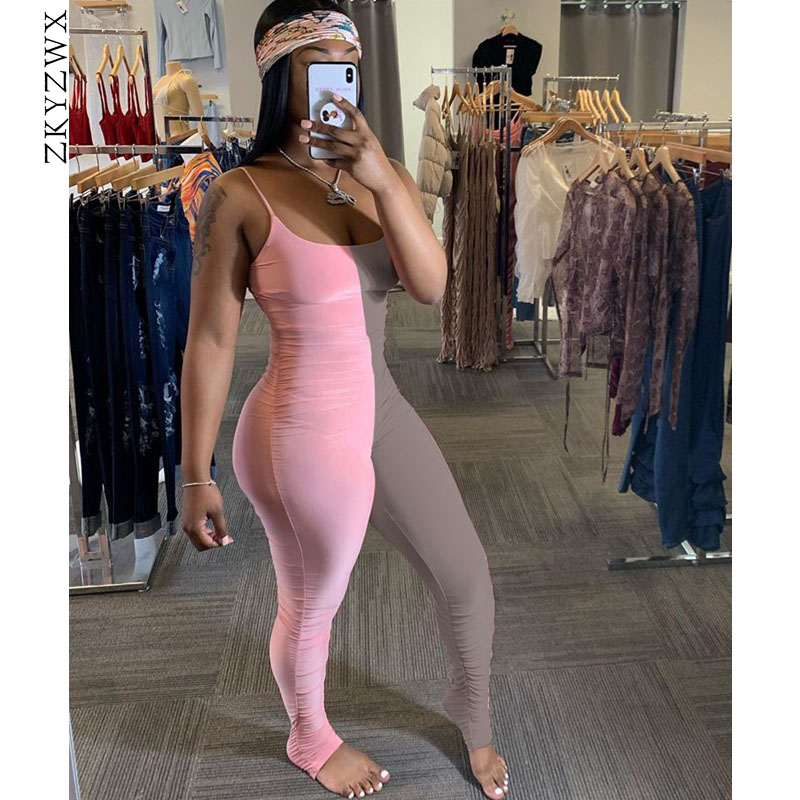 ZKYZWX Sexy Splice Bodycon Jumpsuit Womens Rompers Ruched Pants Summer Clothes One Piece Club Outfits Backless Body Overalls