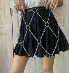 Vestido de verano de cuero de Pu con falda y cinturón, cintura de Metal