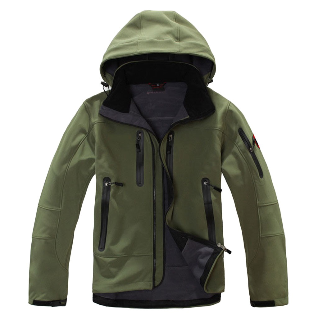Windbreaker Jacket Coat Hooded-Softshell Outdoors Polartec Warm Waterproof Winter  title=