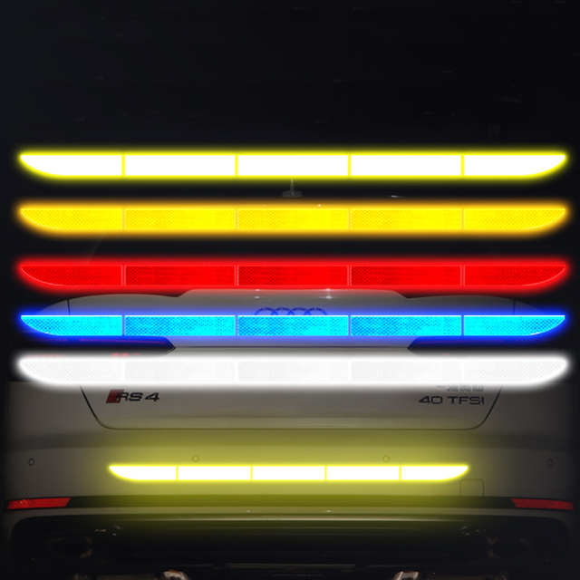 Car Sticker Reflective Warning Safety Tape Film Auto Strip Decoration Bumper Reflection Anti Collision Stickers Car Accessories