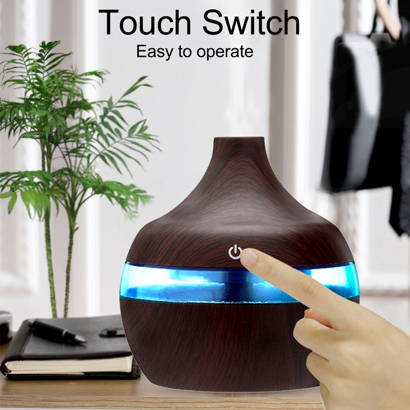 300ml Electric Humidifier USB Electric Aroma Air Diffuser Wood Ultrasonic Air Humidifier Cool 12hrs Of Continuous Quiet Diffuser