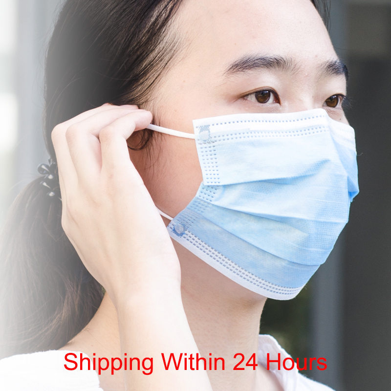 100Pcs Protective Mask Disposable Cotton Mouth Face Mask Non-Woven Anti-Haze Face Mask Anti-Dust Mask 3-Ply Safety Fast Delivery