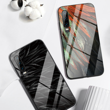 Tempered Glass Case for Huawei P30 P20 Lite Mate 20 Lite Feather Black Cases for Huawei Honor 9 10 Lite 8X MAX P Smart Z Nova 3 цены