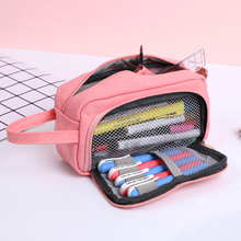 JIANWU 1Pc Solid simplicity Large capacity pencil bag Cute student High case kawaii Storage School supplies