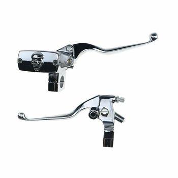 """Chrome 1"""" Motorcycle Handlebar Skull Reservoir Brake Clutch Lever Custom"""