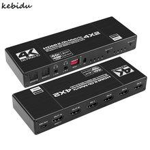 Séparateur de commutateur HDMI Matrix Navceker 4x2, 18.5 Gbps, 4K @ 60Hz, avec SPDIF et L/R HDR, commutateur compatible HDMI 4x2