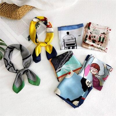 70*70cm Satin Silk Scarf Print Foulard Hair Scarf Head Scarf Luxury Brand Silk Square Neck Tie Hijab For Women Bag Scarf