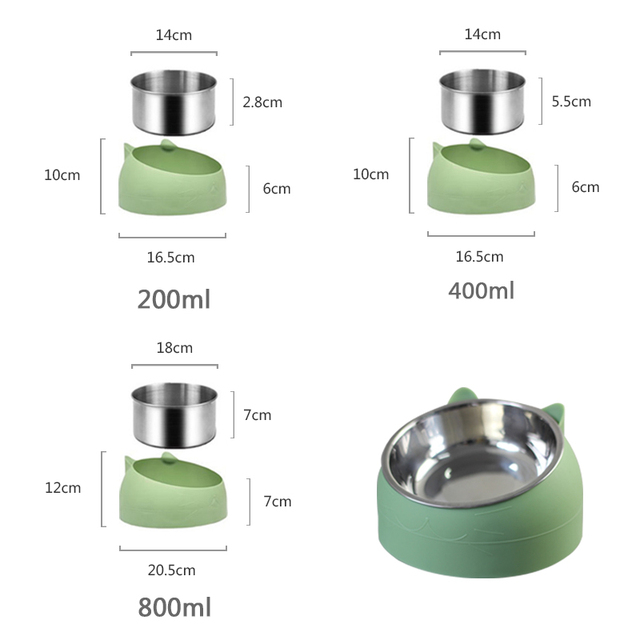 Non-slip Cat Dog Bowl 15 Degrees Tilted Safeguard Neck Puppy Cats Feeder Stainless Steel Crashworthiness Dish for Cat Pet Bowls 6